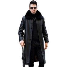 Куртка из натуральной кожи, меховые пальто для мужчин, зима размера плюс 5XL, Мужское пальто из спилка, теплая плотная длинная парка mujer: LX2581