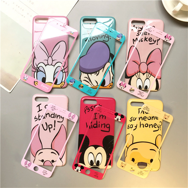 360 Full Cover Phone Case + Glass for IPhone X XR XS Max 8 7 6 6S Plus Iphone7 Iphonex Iphone8 Coque Women Cartoon Case Cover