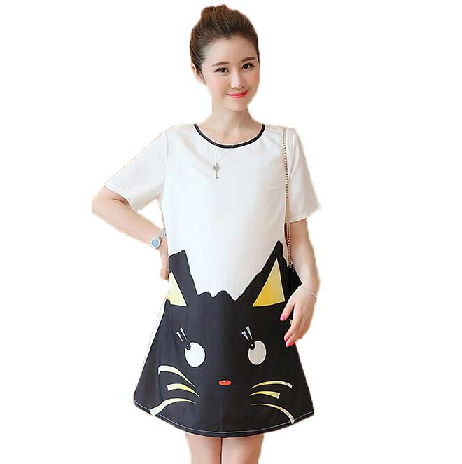 2016 Autumn Women Fashion Cartoon Cat Loose Maternity Dress Large Size Lady Print Dress Pregnant Woman Clothes Free Shipping