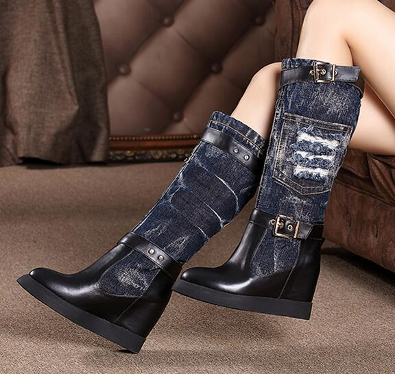 Fall winter hole cowboy boots woman height increasing wedge heels knee high denim boots pointed toe long boots