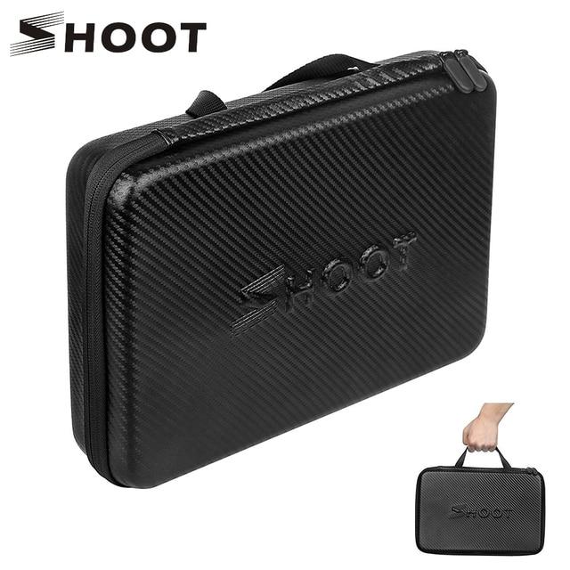 SHOOT Large Portable PU Waterproof Carrying Case for GoPro Hero 9 8 7 5 SJCAM Xiaomi Yi 4k Eken h9 Camera Box Go Pro 8 Accessory