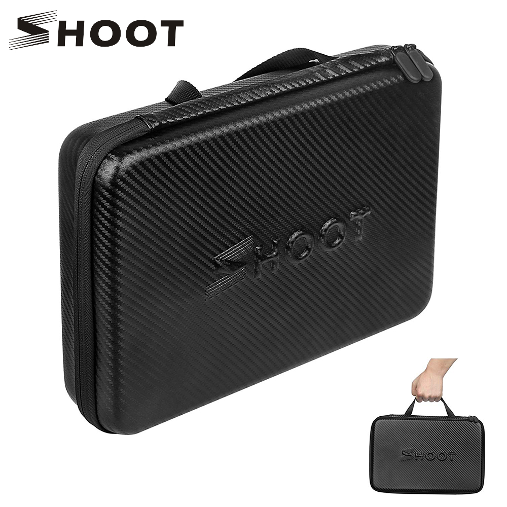 SHOOT Large Protable PU Waterproof Carrying Case For GoPro Hero 8 7 6 5 SJCAM Xiaomi Yi 4k Eken H9 Camera Box Go Pro 8 Accessory