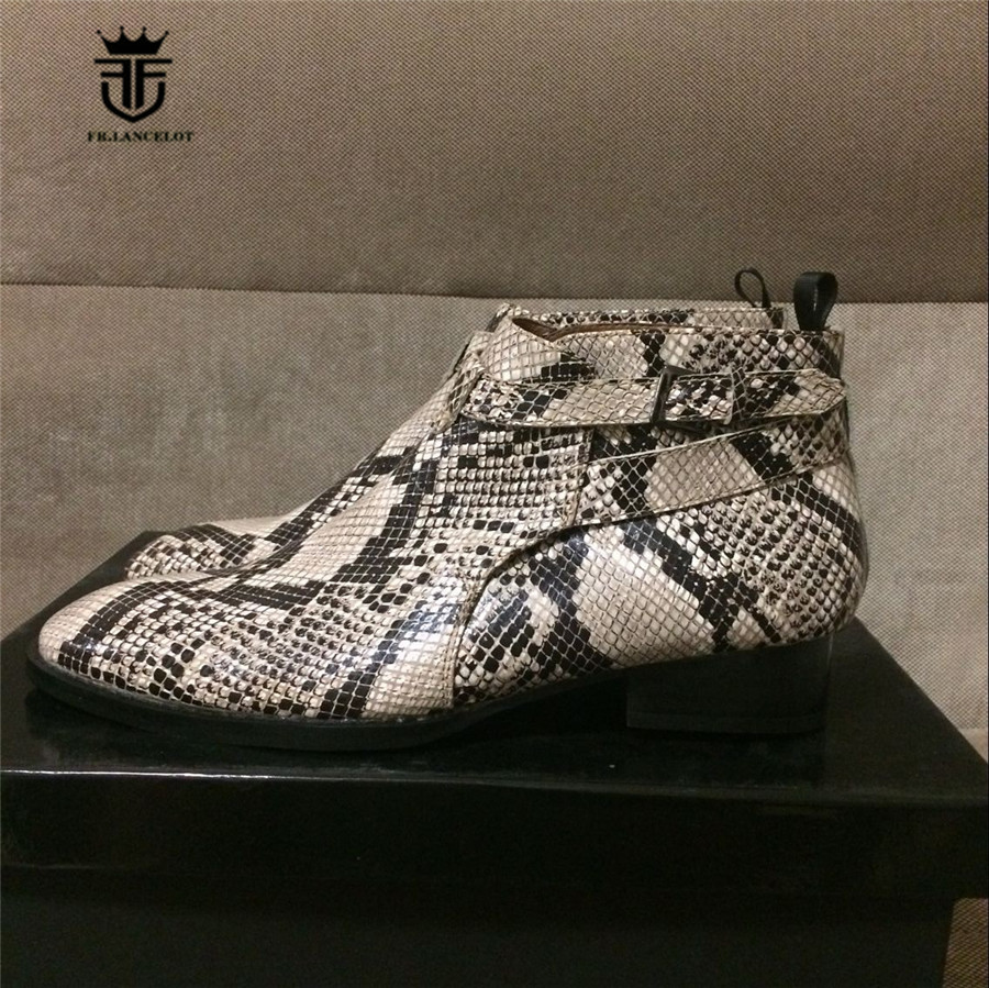 Handmade Customized Luxury Python pattern Buckle Embossed Genuine Leather Ankle Boots Men Dress Wedding Personalized Short BootHandmade Customized Luxury Python pattern Buckle Embossed Genuine Leather Ankle Boots Men Dress Wedding Personalized Short Boot