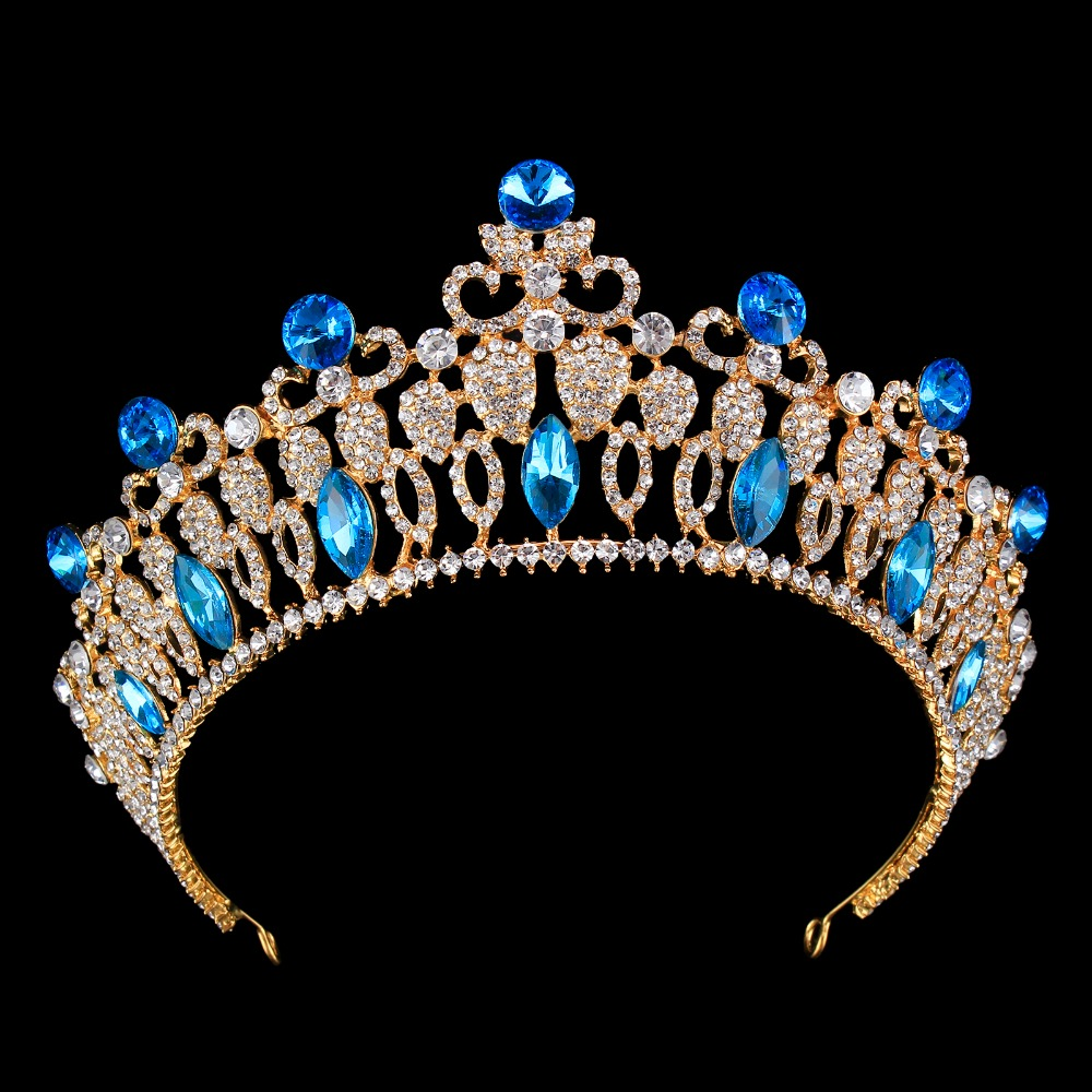 European Luxury Bride Baroque Crowns Tiaras Wedding Queen Princess Crown Gold Bridal Crystal Big Diadem Women Headpiece