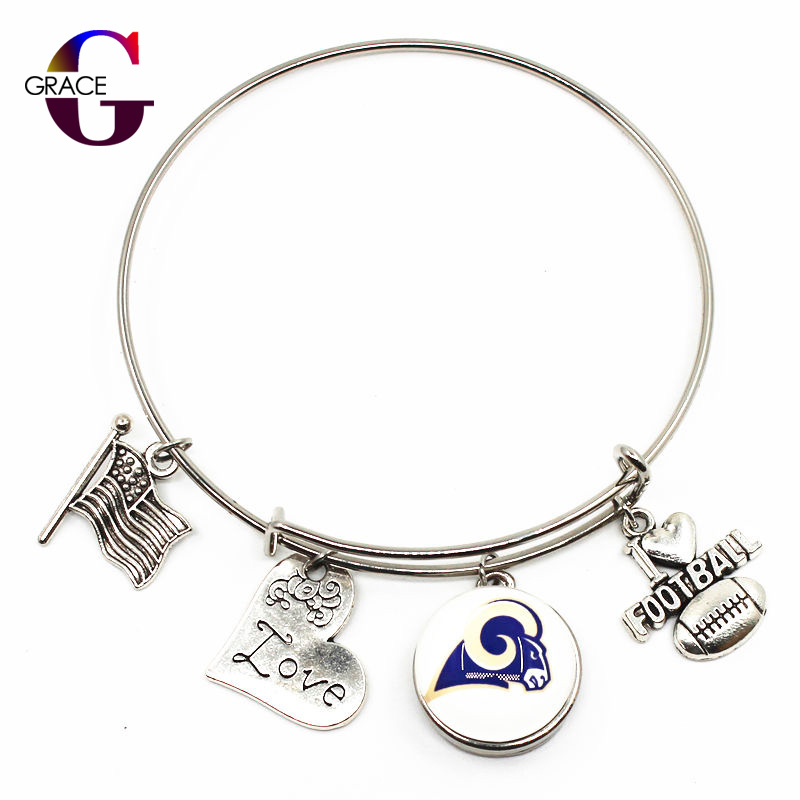 Los Angeles Rams Adjustable I Love Football Expandable Women Bangle Bracelets With Ginger Snaps Buttons Jewelry Sports Charms
