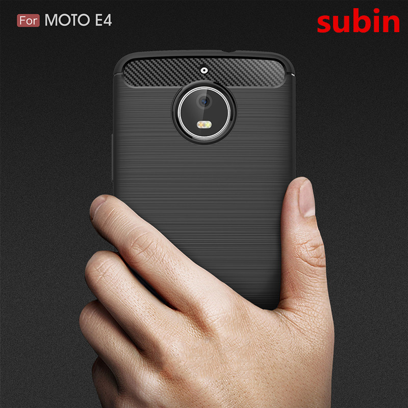For Motorola MOTO E4 Cases Cover Carbon Fiber Texture Brushed Soft Silicone TPU