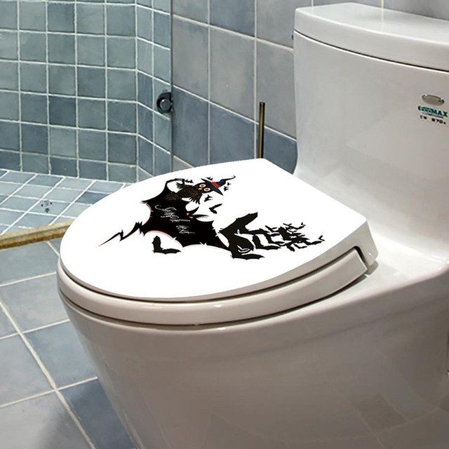 Halloween Toilet Seat Wall Sticker Adornment Removable Vinyl Wallpaper Window Living Room Home Halloween Decoration 15t