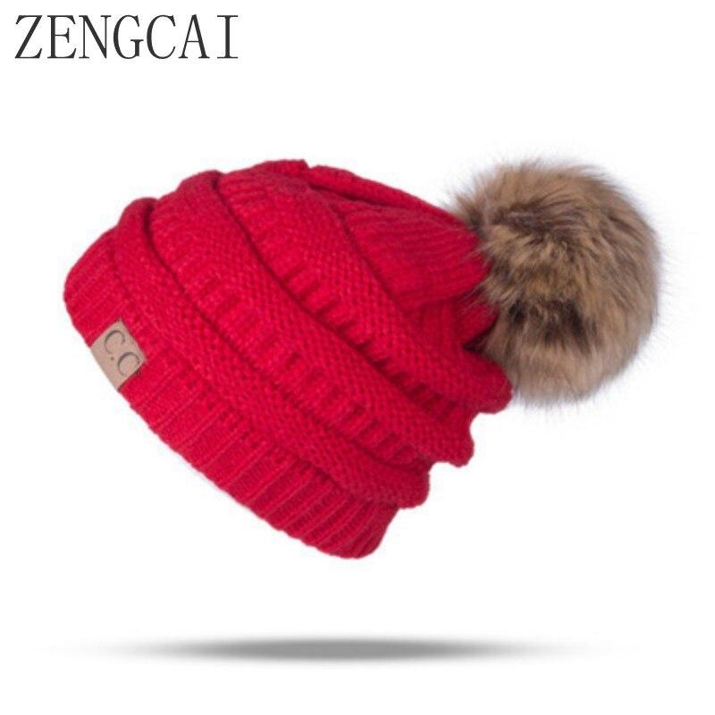 2017 CC Fleece Beanie Hat Pom Pom faux fur Skullies Beanies winter wool fleece hat Knitted Hats For Girls Ladies Warm Cap