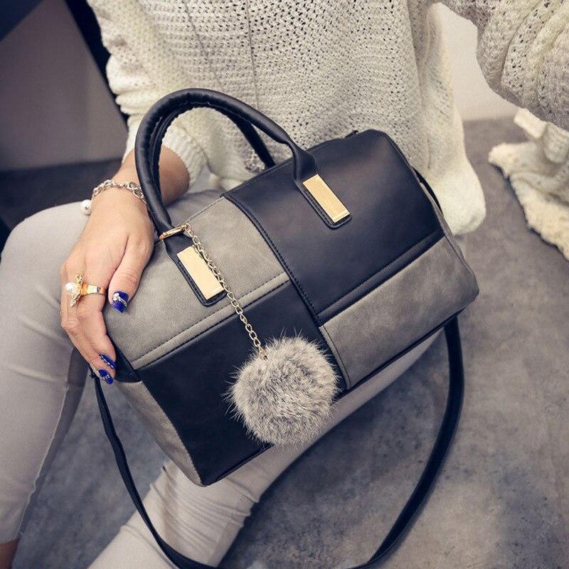 Women PU Leather Handbag Patchwork Color Messenger Bag Fashion Designer Shoulder Bag Ladies Small Top Handle Handbag Clutches