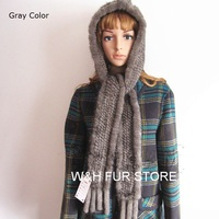 women's fur hat scarf New hand knitted warm Fashion cap with genuine mink fur. black brown red white HA122