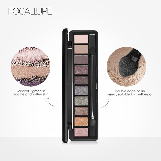 FOCALLURE New Pro 10 Colors Set Women Waterproof Makeup Eyeshadow Palette Eyebrow Eye Shadow Powder Cosmetic with Brush 3