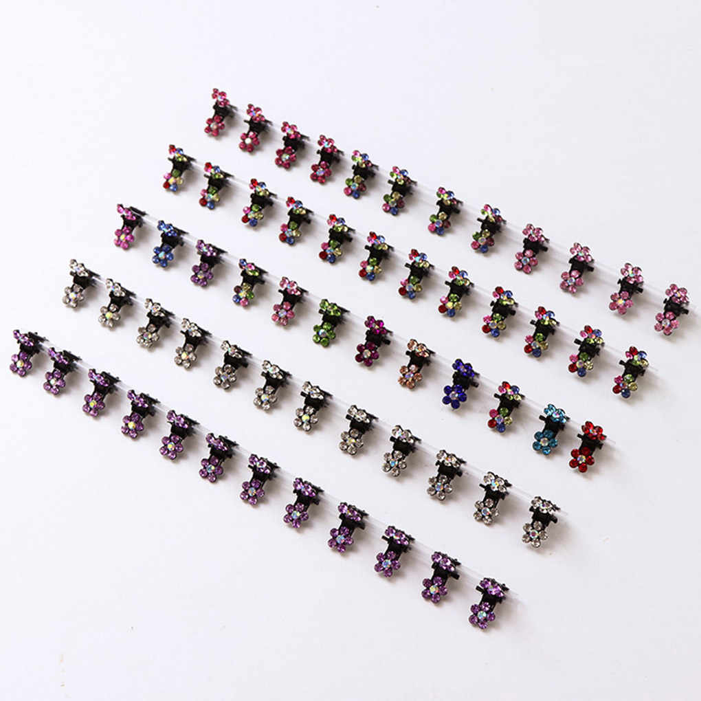 2019 New 12PCS Girls Small Crystal Flowers Metal Hair Claws Children Mini Rhinestone Hair Clamp Kids Hair Baby Clips