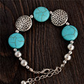 0118 Hot Charm Beads Fashion Jewelry Vintage Hollow Out Handmade Petals Tibetan Silver Turquoise Bracelet Free Shipping