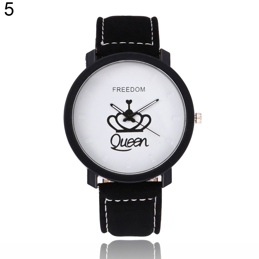 Newest Couple Queen King Crown Fuax Leather Quartz Analog Wrist Watch Chronograph 2017 Wom reloj mujer