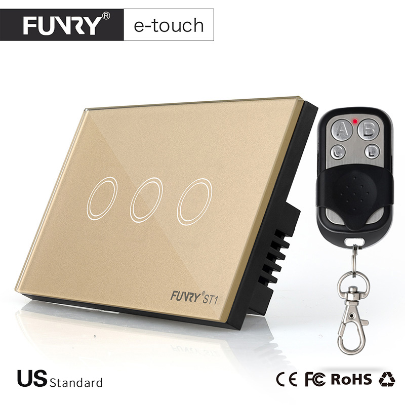FUNRY US/AU standard Remote Switch Crystal Glass Panel Wall Light Touch Switch 3 Gang 1 way Compatible Broadlink RM2 RM Pro us standard funry 1 gang 1 way crystal glass panel touch switch wireless remote control led light switches rf433 wall switch