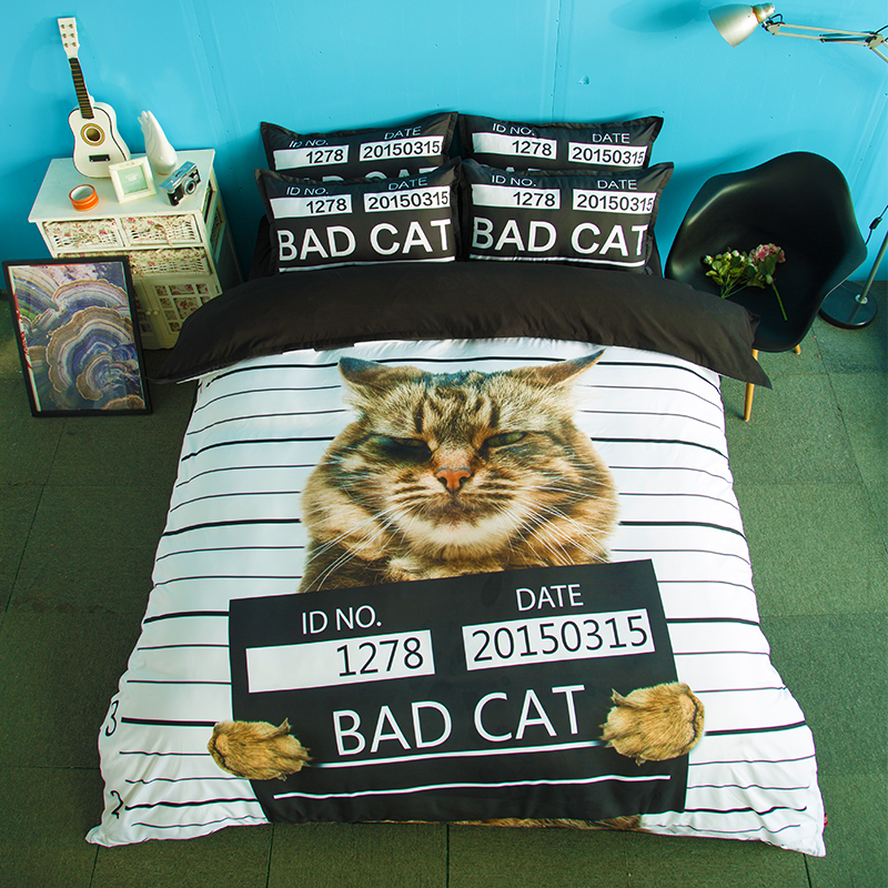 Cat Print Black and White Stripes Bedding Set Twin Queen King Size Duvet Covers Bed Sheets with Pillowcase Cute Bedroom Sets