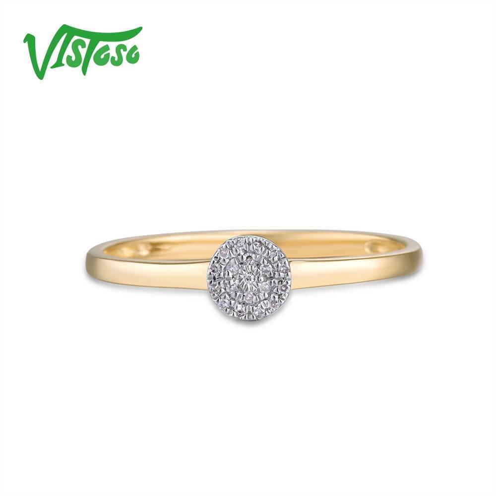 VISTOSO pur 14K 585 or jaune scintillant diamant délicat anneau de cercle rond pour les femmes anniversaire bijoux fins à la mode - 2