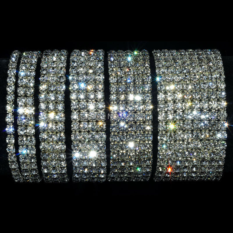 e21c8a60b4b0f 4 5 8 Rows Wedding Bridal Bracelet Crystal Multicolor Diamante ...