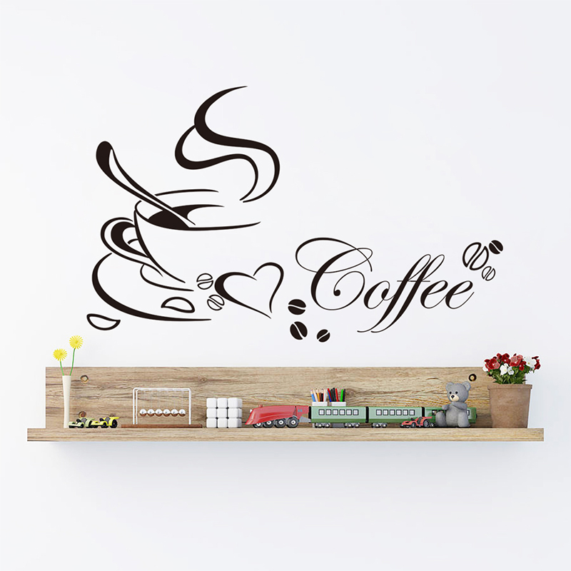 Creative Fragrant Coffee Decorative Wall Stickers Kitchen Dining Room Decor Home Decorations Living Room Vinyl Mural Art Decals