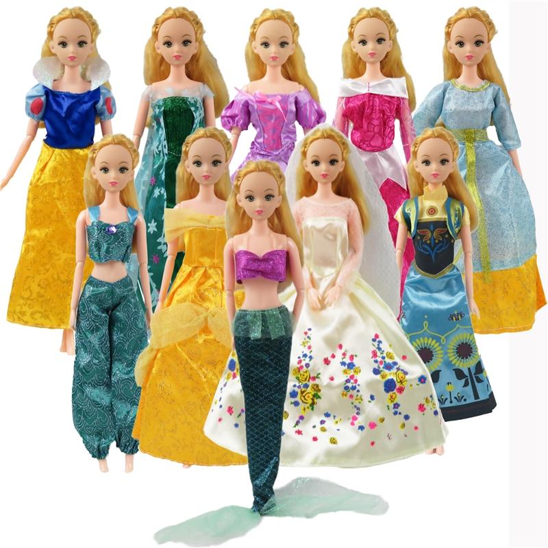 5 인치 인형 드레스 비슷한 동화 속 공주 Snowwhite 신데렐라 안나 웨딩 드레스 12 인치 인형 옷 소녀 선물 키즈 완구