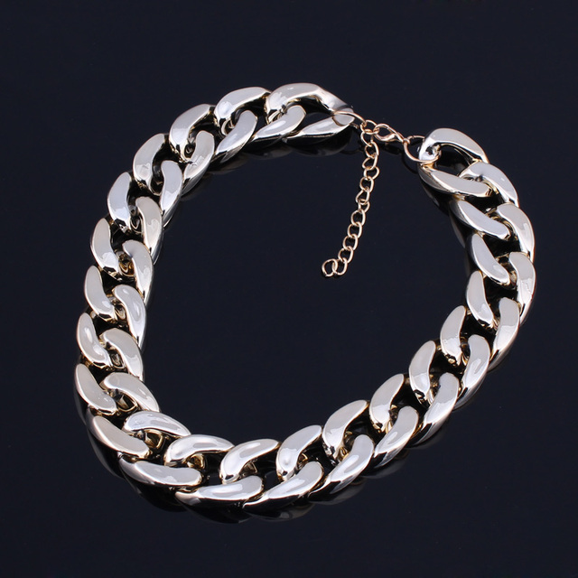 Tenande Charm Concise Chain Choker Necklace For Women Jewelry Joias Punk Temperament Chunky Necklaces & Pendants Colar Accessory