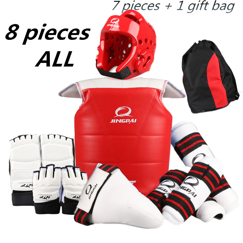 WTF Taekwondo Sparring Gear Protectors Guards complete set 8 pcs taekwondo protector taekwondo protective gear set wtf hand chest protector foot shin arm groin guard helmet 8pcs children adult taekwondo karate set