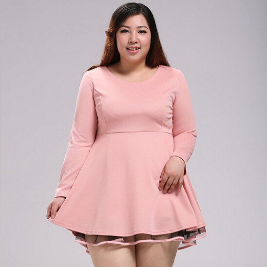 US $45.0 |4XL 10XL Plus size clothing Pink dress autumn winter Oversized  Sweet lace patchwork long sleeve slim one piece dresses-in Dresses from ...