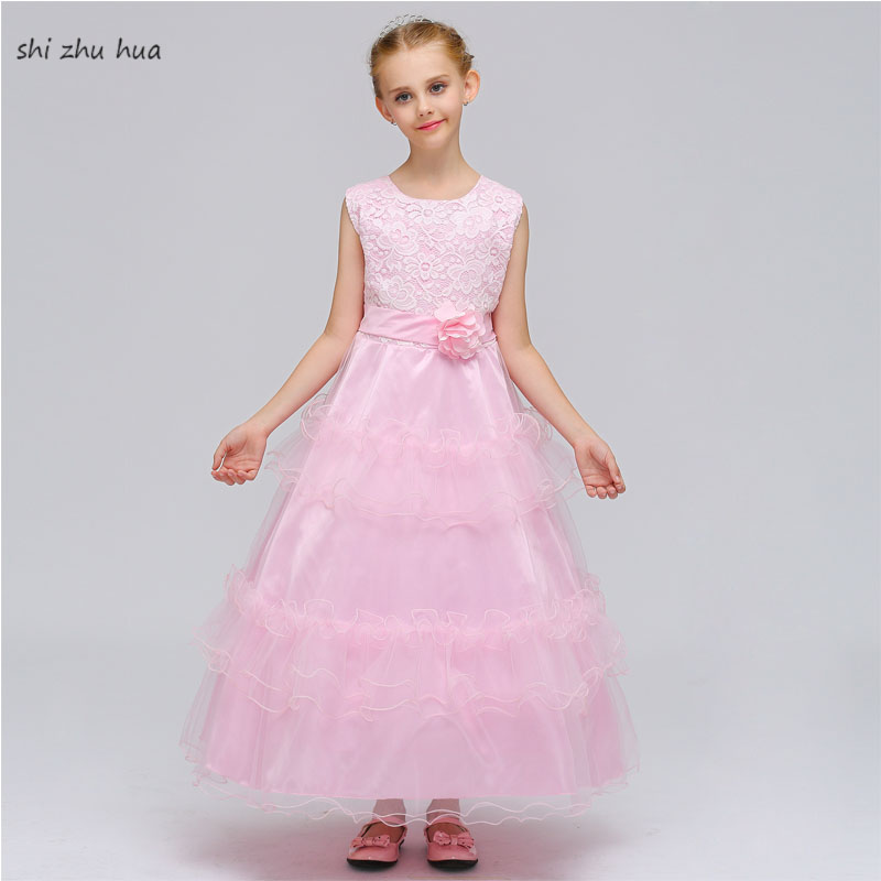 2018 New Dress Girls Lace Princess Dress / Party dress / Children Specialty Cake Gauze Wedding Dress High Summer Girls Clothing