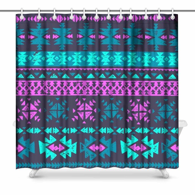Aplysia Neon Color Tribal Navajo Aztec Grunge Abstract Ethnic Hipster Print Polyester Fabric Shower Curtain 72 X Inches