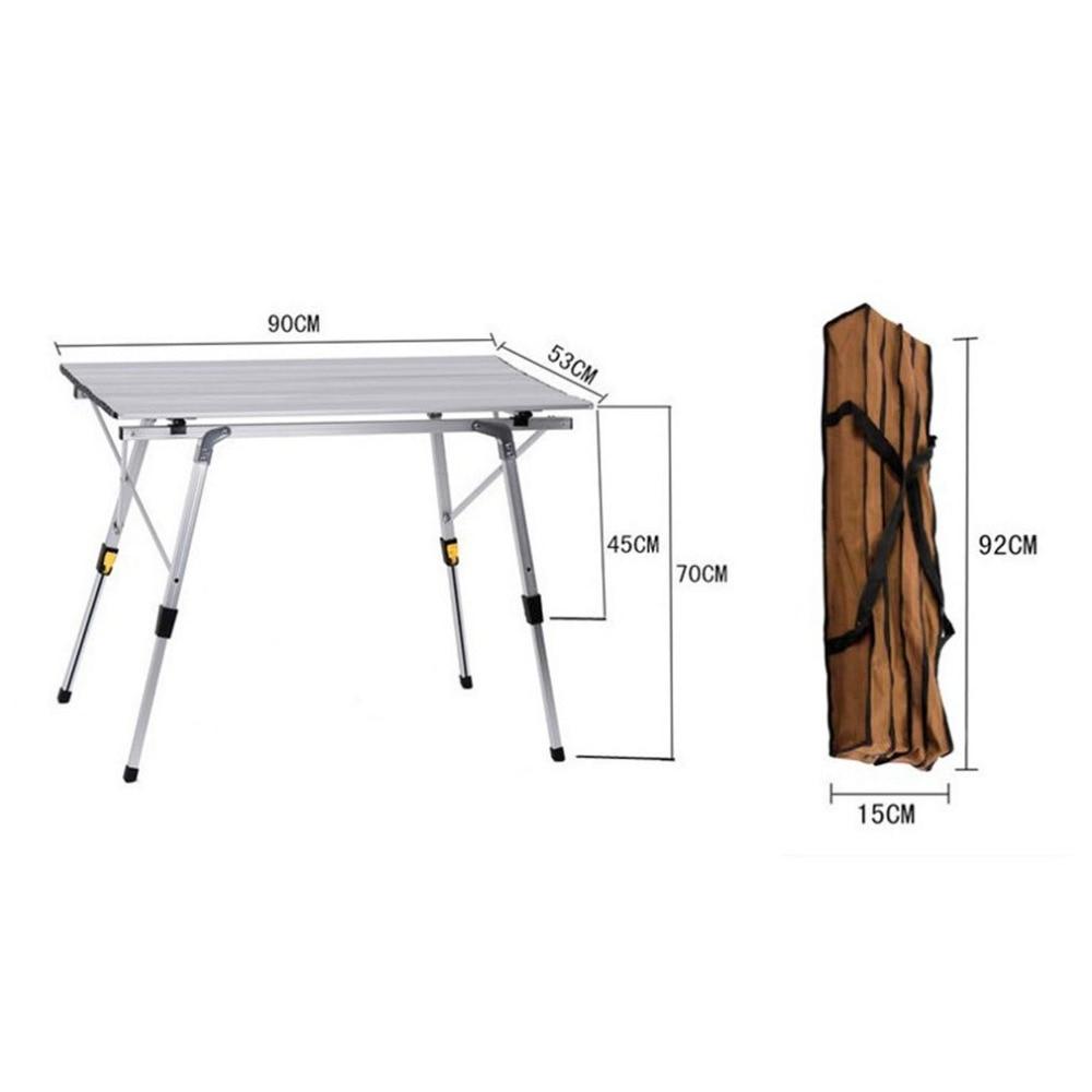 купить Camping Picnic Table Outdoor Portable Golden Aluminium Alloy Folding Ultralight Mesa For Hiking Picnic по цене 4858.23 рублей