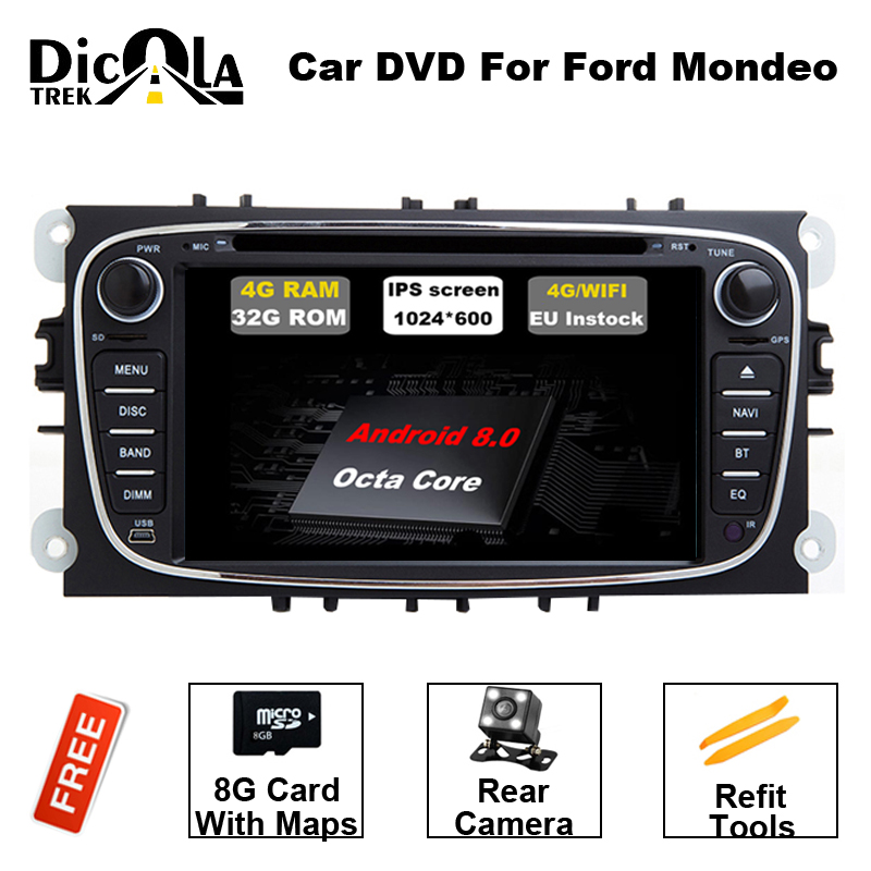 2 din Android 8.0 Octa Core Car DVD Player GPS Navi for Ford Focus Mondeo Galaxy with Audio Radio Stereo Head Unit Free Canbus цена 2017