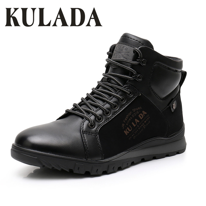 KULADA New Men Boots Warm Snow Leather Thick Fur Ankle Boots  Men Lace Up Waterproof Safety Work Shoes Men Sneaker Casual Boots