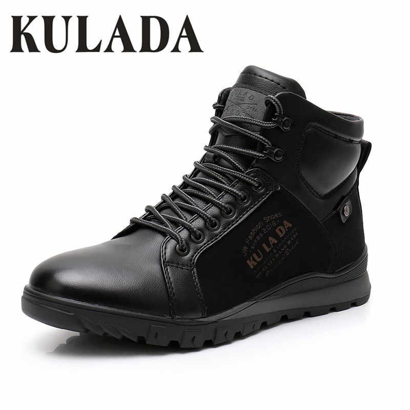 KULADA Yeni Erkek Çizmeler Sıcak Kar Deri Kalın Kürk yarım çizmeler Erkekler Dantel Up Su Geçirmez Güvenlik iş ayakkabısı Erkekler Sneaker günlük çizmeler