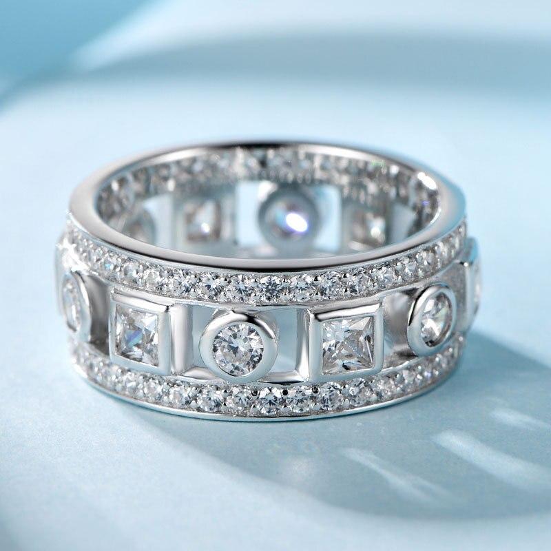 COLORFISH Vintage anneau pour les femmes mode anniversaire bijoux véritable 925 Sterling argent brillant rond 9mm anneau de mariage - 2
