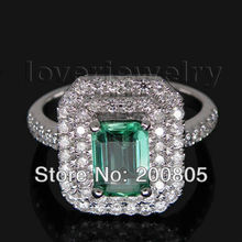 Popular Vintage Emerald Cut 4x6mm 18kt White Gold Diamond Emerald Ring WU005