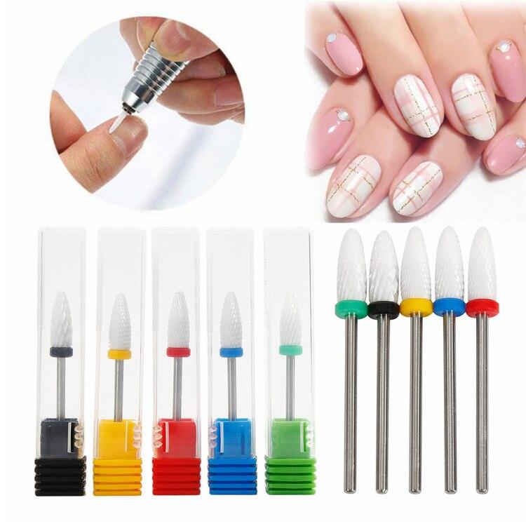 Manicure tools 5Type Ceramic Cuticle Clean Burr Nail Drill Bits Rotary Electric Mills Cutter Manicure Machine Pedicure Nail File