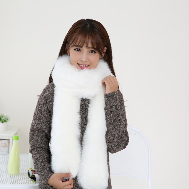 26e2ca8c96a21 2017 Fashion Women's Winter Thick Warm Faux Fur Scarf Lady Soft Long  Imitated Fur Scarves Casual Solid Collar Shawl Wrap 6 Color