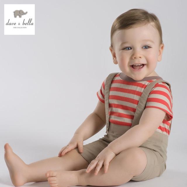 DB2155 dave bella verão bebê recém-nascido pano de algodão listrado romper infantil macacão rompers toddle 1 pc babi romper suave