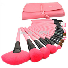 Genuine 24pcs/set pink MakeUp Brushes Set Cosmetics Tools for face eyesbrow makeup brush Pincel De Maquillaje with leather bag