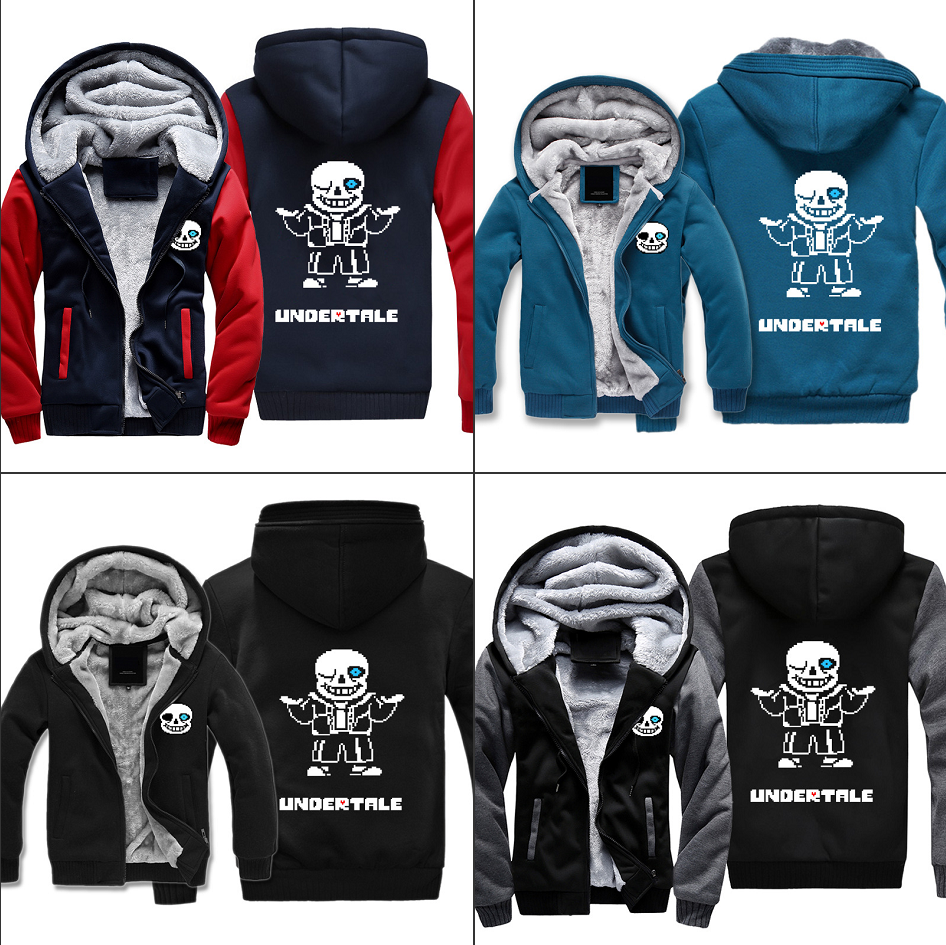 Game Undertale Sweatshirts Hoodies Sans Winter Thicken Warm Tops Casual Jacket Fashion Cartoon Zip Coat Men's Cosplay Clothing
