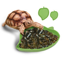 High quality Leaf Shape Plastic Reptile Tortoise Water Dish Food Bowl Toy For Amphibians Gecko Snakes Lizard small animals(China)
