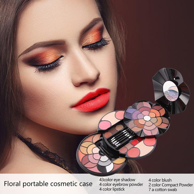 Producto de Importación MISS ROSE Set Profesional de Maquillaje sombra de ojos 57 pétalos de colores Multicolor 43 sombra de ojos 4 colores polvo de cejas