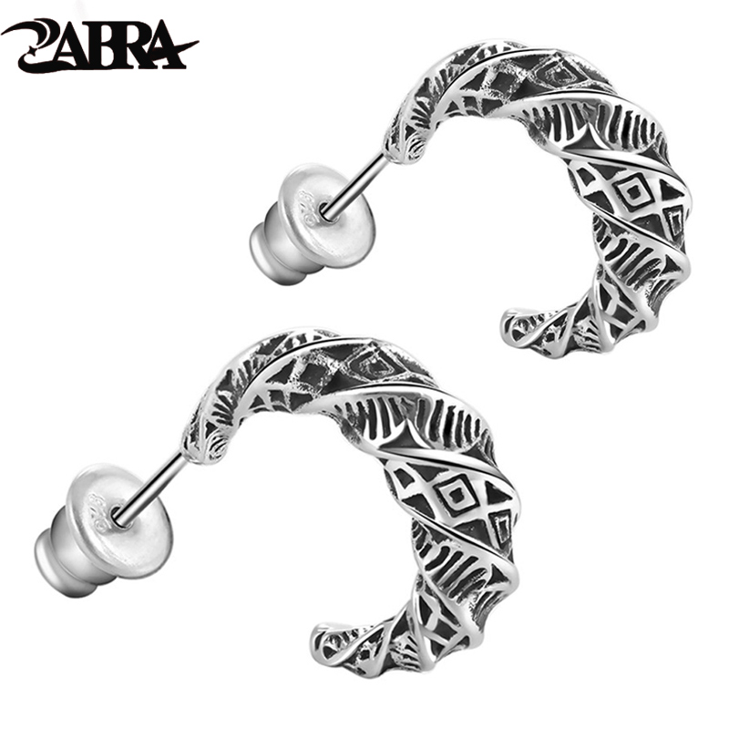 ZABRA Real 925 Sterling Silver Vintage Moon Earrings For Men Retro Black Process Male Stud Earring Party Pierced Jewelry