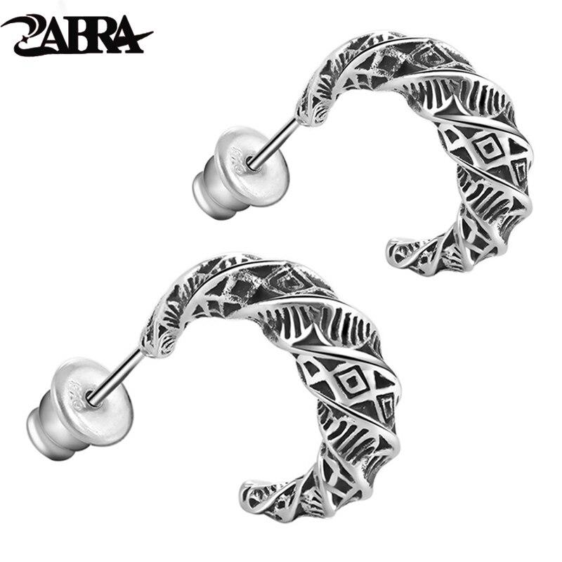 ZABRA Real 925 Sterling Silver Vintage Moon Earrings For Men Retro Black Process Male Stud Earring Party Pierced Jewelry