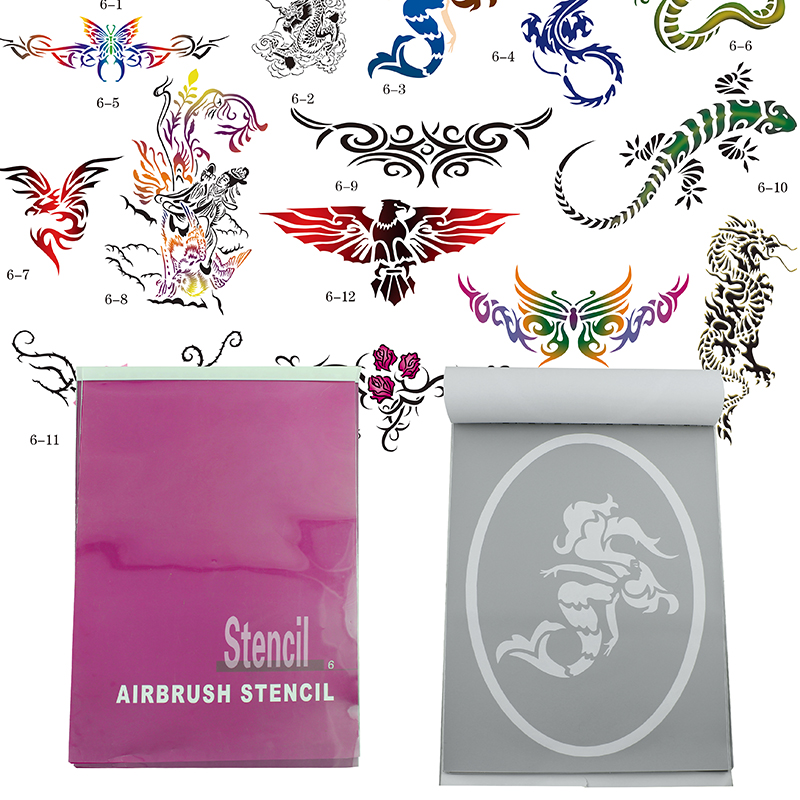 OPHIR 14x Super Big Patterns Airbrush Stencils for Temporary Tattoo Body Art Painting Booklet Template Sheets Set_STE6 cambridge young learners english flyers 5 answer booklet
