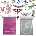 OPHIR 14x Super Big Patterns Airbrush Stencils for Temporary Tattoo Body Art Painting Booklet Template Sheets Set_STE6