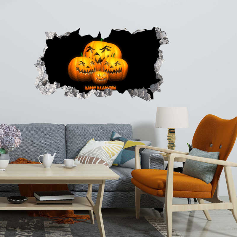 3D Wall Sticker DIY Thrilling Halloween Pumpkin Light Night View Fire Window Floor Home Posters Stickers Living Room Decoration