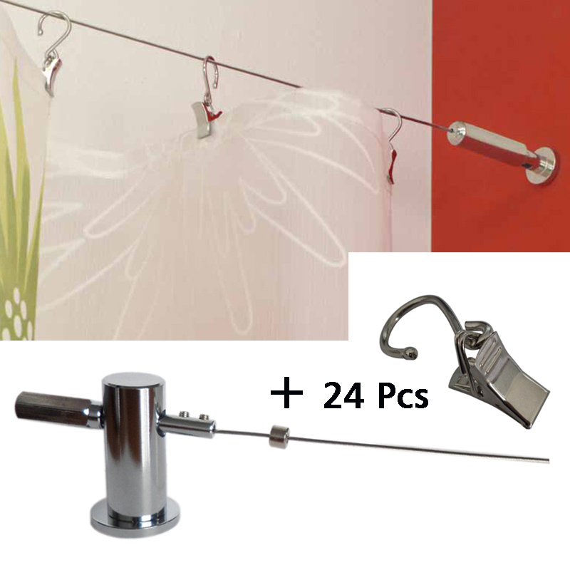 5M Curtain Drapery Drape Wire Rod Set and 24 Clips,Pavo , Curtain Accessories for Window Decoration coconut tree window scenery shower curtain and rug