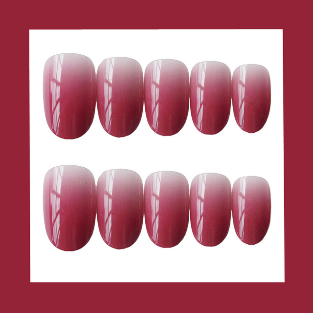 24PCS/set Gouache gradient gentle morandi grey false nails,Small round head Middle-long full nail tips lady art tool bride