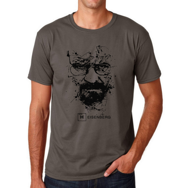 Top Quality Cotton heisenberg funny men t shirt casual short sleeve breaking bad print mens T-shirt Fashion cool T shirt for men